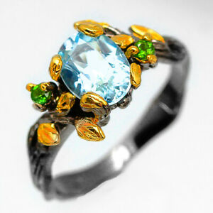 Fineart Jewelry Natural Blue Topaz 8x6 mm.925 Sterling Silver Ring / RVS217