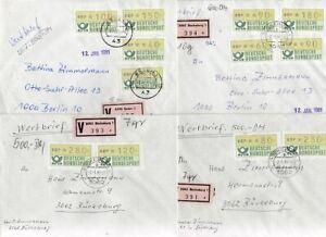 Bund   ATM  25 Belege mit Automatenmarken  Wertbriefe  Einschreiben  etc.