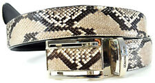 100% GENUINE PYTHON SNAKE SKIN LEATHER MEN'S BELT NATURAL WHITE Size 35