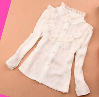Girls Blouse Lace Top Ruffle Shirt White Long sleeve Summer Spring age 2-14 y
