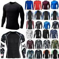 Men Long Sleeve T-Shirt Baselayer Cool Dry Compression Gym Blouse Stretch Tops