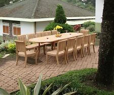"""Giva 13-pc Outdoor Teak Dining Set: 117"""" Oval Extn Table, 12 Arm/Armless Chairs"""