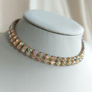 VINTAGE AB Aurora Borealis Choker Necklace, Sparkly Diamante Retro Kitsch