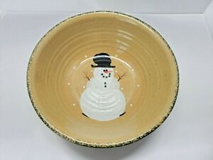 """Three Rivers Pottery Coshocton, OH 1996 Snowman Round Large 12"""" Bowl"""