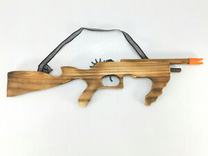 """New Wood Rubber Band Machine Gun Rifle Large 21"""" Elastic Shooter Boys Toy Army"""