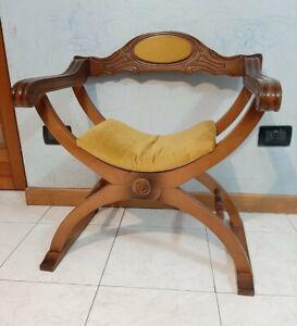 Vintage Italian Wood Chair Savonarola