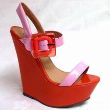 Ladies womens orange and pink patent platform sandal shoe wedge heels u.k size 5