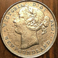 1885 NEWFOUNDLAND SILVER 20 CENTS - Excellent example but harshly cleaned