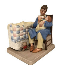Norman Rockwell Figurine Late Night Dining American Childhood New Father Mint