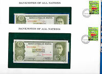 Banknotes of All Nations Bolivia P-154 10 Pesso 1962 UNC Serie S2 2 Consecutive
