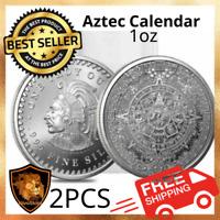 2PC Aztec Calendar Mexican Mayan 1oz Silver Coin Culture Souvenirs Collection