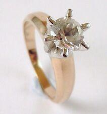 100% Genuine Vintage 14k Yellow Gold 0.75 cts Natural Quartz Solitaire Ring Sz N