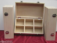 3 X Wholesale Plain Boxes 6 compartments 2 latch hinged  28x18 x8.5  decoupage