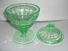 VINTAGE VASELINE URANIUM GREEN WHEEL CUT GLASS COVERED PEDESTAL CANDY DISH BOWL
