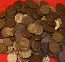 1940-PD THRU 1958-PD LINCOLN WHEAT CENT PENNY 500 COIN/10 ROLLS G-XF COLLECTOR