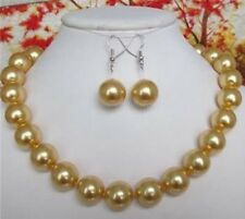 """10MM golden South Sea shell pearl round beads necklace earrings 18"""""""