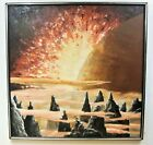 Original Outer Space Science Fiction Oil Painting Signed C. Baily Vintage 1970's