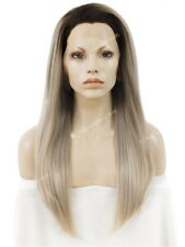 Rooted Ash /Light  Blonde  Long Straight Synthetic Soft Swiss Lace Front Wig