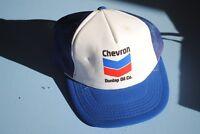 Vintage Chevron Dunlap Oil Company Trucker's cap Snapback Hat White Blue