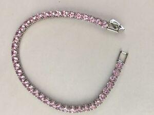 Pink Diamond Quartz Tennis Bracelet  - #6-06