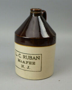 Antique Vintage  LC Ruban McAfee NJ Stoneware Advertising Jug Pre Prohibition