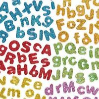 KRAFTZ® Glitter Foam Eva Letters Sticker Self Adhesive Mix Colors Kids Art Craft