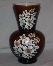 """ADALT ITALY 10.5"""" Glass Vase Brown Cased to White Hand Painted Flowers Vintage"""