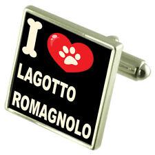 Me encanta mi perro Tono Plateado Cufflinks Lagotto romagnolo