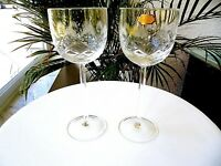 """Set of 2 Tall Clear Hand Cut Crystal Wine Glasses 7 3/4"""" Tall"""