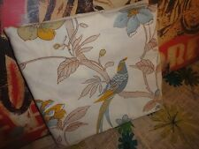 VINTAGE MARLBOROUGH BLUE BIRD BUTTERFLY FLORAL BROWN QUEEN FLAT SHEET 88 X 94