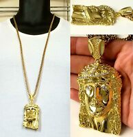 """MENS JESUS PENDANT 14K GOLD FILLED STAINLESS STEEL 4mm 36"""" FRANCO CHAIN NECKLACE"""