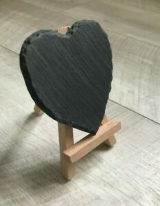 Handmade slate heart mini chalkboard easel wedding names number tabletop
