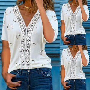 Womens Heart Print V-neck Short Sleeve T-shirt Blouse Ladies Summer Casual Tops