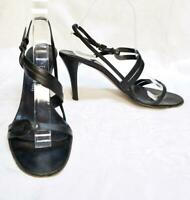 VTG 90s Anne Klein Black Leather Strappy Made in Italy Heels Sandals 8.5