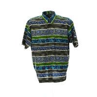 Signum Herren Hemd Kurzarm Größe M Shirt Vintage Retro Muster Baumwolle