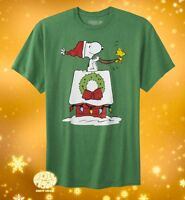 New Peanuts Charlie Brown Snoopy's Doghouse Sleigh Christmas Mens T-Shirt