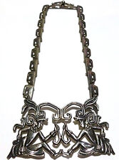 # 5605 MARGOT DE TAXCO STERLING SILVER AZTEC MAYAN STORYTELLER NECKLACE 15""