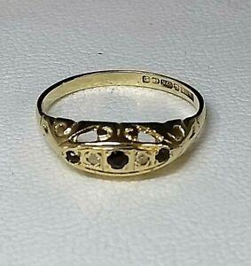 Antique Style Sapphire & Diamond Ring 9carat Gold Hallmarked Sz M1/2
