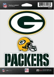 Green Bay Packers Triple Spirit 3 Decals Auto Tumbler Laptop Cut to Shape