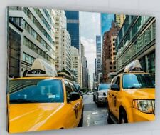 NEW YORK CITY TAXIS SCENE CANVAS PICTURE PRINT WALL ART CHUNKY FRAME LARGE 123-2