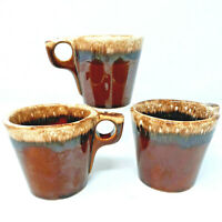 3 Piece Brown Pottery Crock Mugs Stoneware