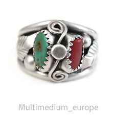 Navajo Navajo Indien Bague argent corail turquoise ressort Silver Coral Turquoise