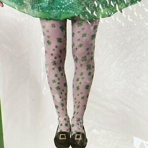 Women's Green Shamrock St Patrick's Day Tights Stockings Pantyhose One Size.