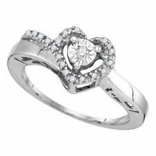 Sterling Silver Womens Round Diamond Heart Promise Ring 1/12 Cttw