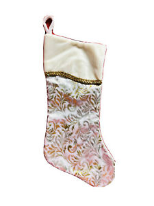 19 In White Silver Gold Swirl Christmas Stocking