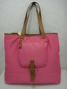 Bath & Body Works Pink and Brown Faux Leather XL Tote Carryall Weekender NWTs