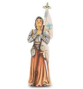 Statue St Joan of Arc Catholic Figurine 4 Inch Patron Saint w Holy Card