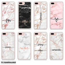 CUSTOM NAME INITIALS PERSONALISED ROSE GOLD MARBLE HARD CASE FOR IPHONE