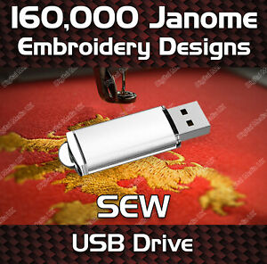 160,000 Janome MemoryCraft, Elna  Envision Embroidery Designs Pattern SEW on USB