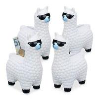 4 x Lama Spardose mit Sonnenbrille Sparbüchse Sparschwein Alpaka Gelddose weiß